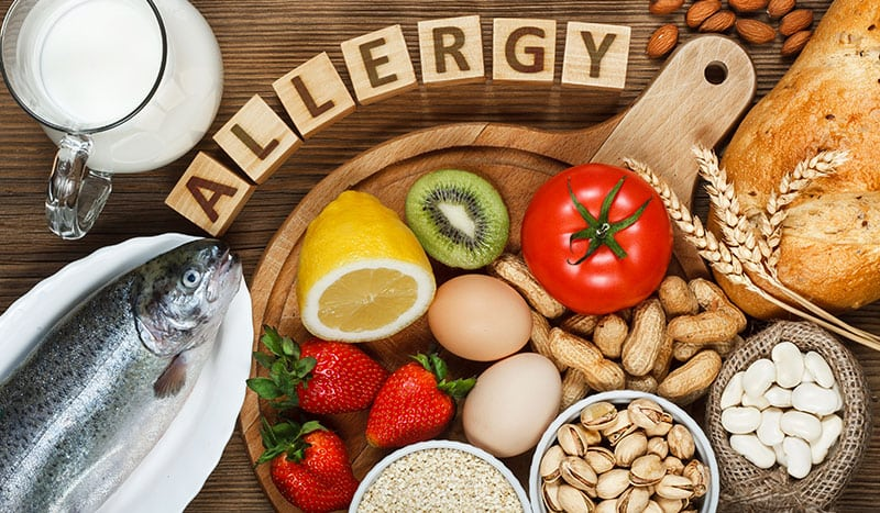 a variety of allergenic foods