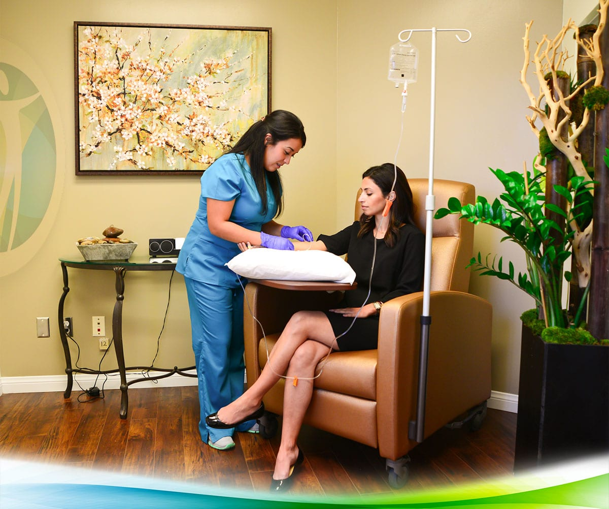 a patient receives iv therapy at health & vitality center in los angeles
